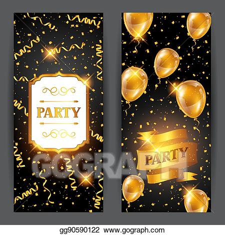Vector Stock - Celebration party banners with golden balloons and ... image royalty free library