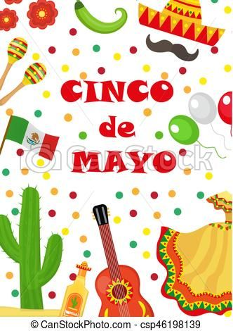 Cinco de Mayo greeting card, template for flyer, poster, invitation ... clip download