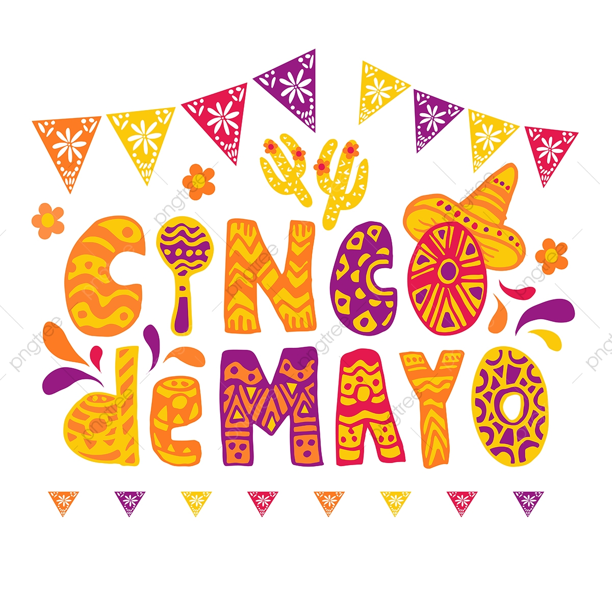 Cinco De Mayo Celebration Festive Banner Or Flyer, Cinco, Cinco De ... clip art free download