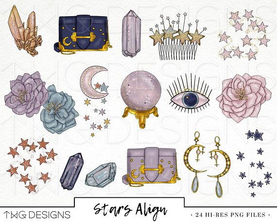 Celestial being clipart banner library download Star Fashion Girl Clip Art Watercolor Clipart Stars Crystals Moon ... banner library download