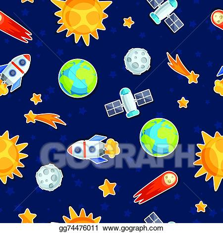 Celestial being clipart banner Vector Art - Seamless pattern of solar system, planets and celestial ... banner