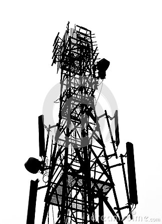 Cell site clipart svg royalty free download Cell Phone Antenna Tower Isolated White Stock Photos, Images ... svg royalty free download