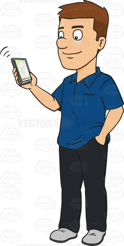 Cellphone and people clipart freeuse Man Holding A Ringing Mobile Phone #adultmale #blueshirt #gadget ... freeuse