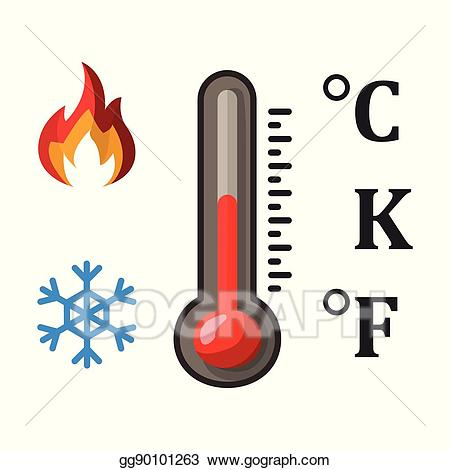 Celsius clipart banner royalty free library EPS Illustration - Thermometer and three temperature units: degrees ... banner royalty free library