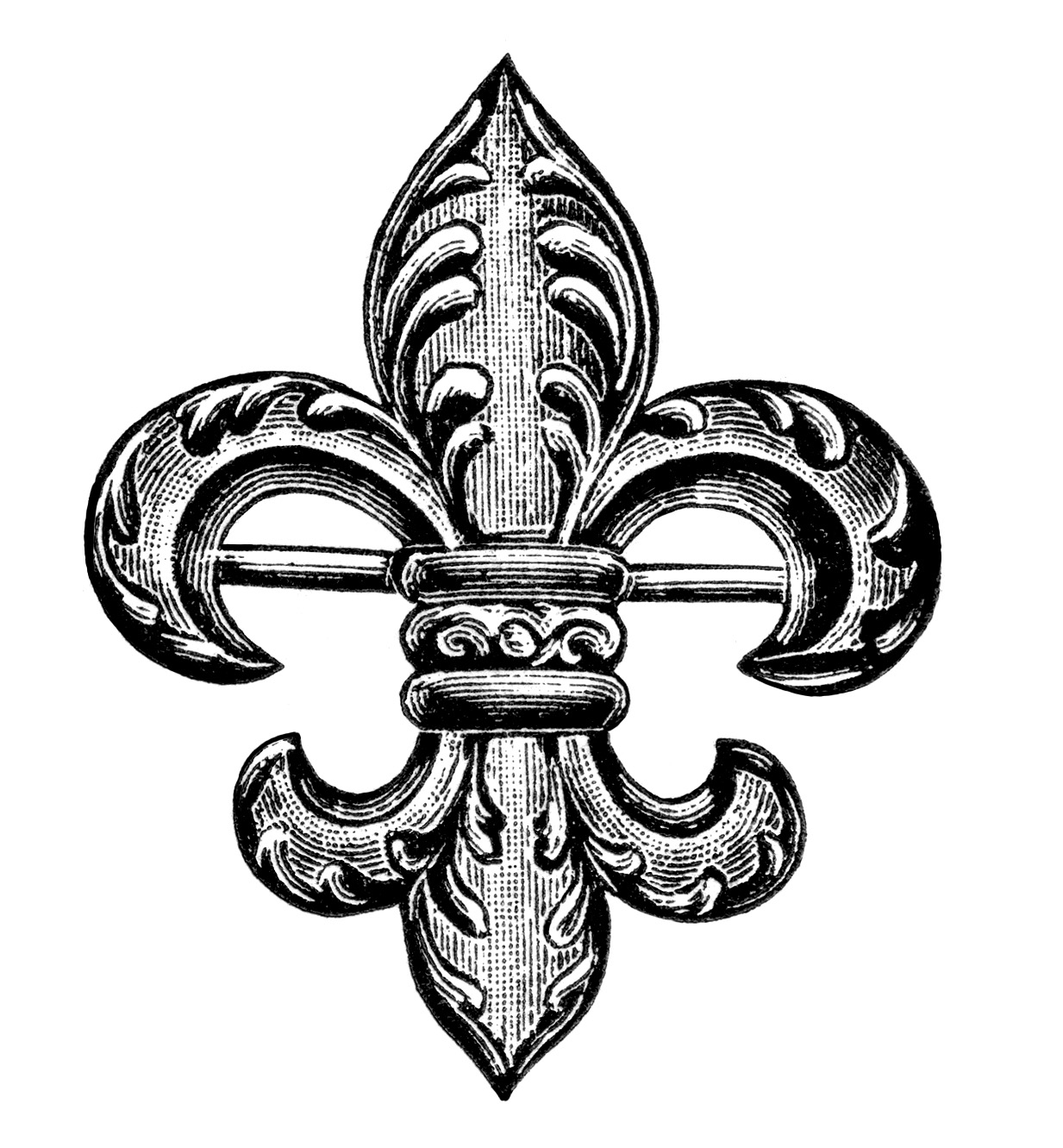 Free vintage image fleur de lis brooch old design shop blog clip art ... banner freeuse stock