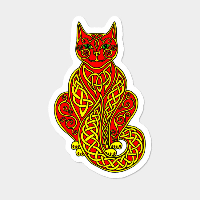 Celtic cats clipart banner Celtic Cat#7 In Yellow On Red Sticker By Ingridthecrafty Design By Humans banner
