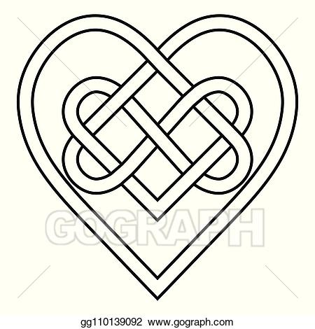 Celtic hearts clipart vector library Vector Clipart - Celtic knot rune bound hearts infinity vector ... vector library
