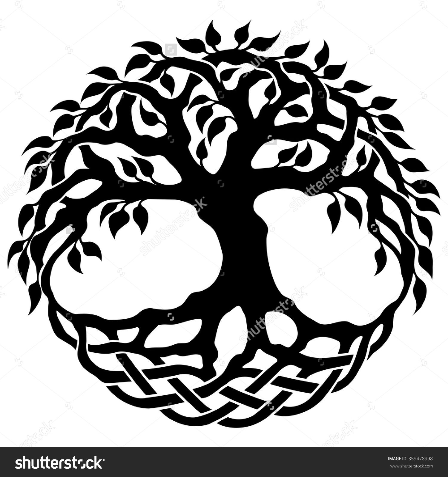 Vector Ornament, Decorative Celtic Tree Of Life - 359478998 ... vector black and white