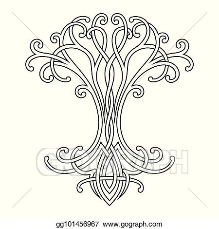 Vector Art - Celtic tree of life. EPS clipart gg101456967 - GoGraph picture black and white stock