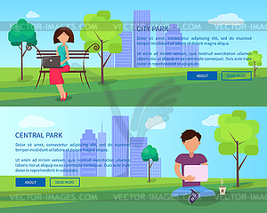 Central city clipart picture library library Central City Park Banners with People and Gadgets - vector clipart picture library library
