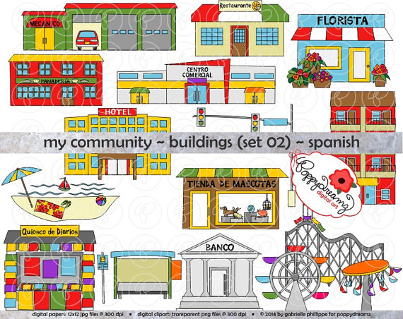My Community Buildings Set 02 IN SPANISH Clipart: 300 dpi by - Clip ... svg library download