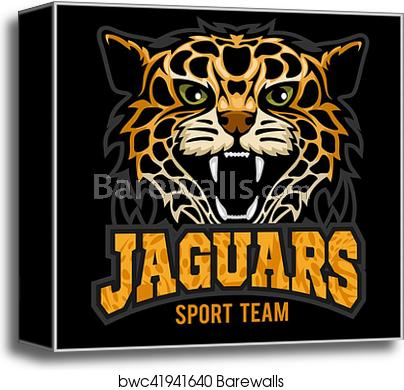 Century panther vector clipart clip art black and white library Sport team - Jaguar, wild cat Panther. Vector illustration, black  background, shadow. canvas print clip art black and white library