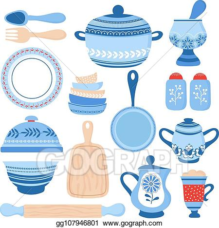 Vector Clipart - Crockery ceramic cookware. blue porcelain bowls ... banner library library