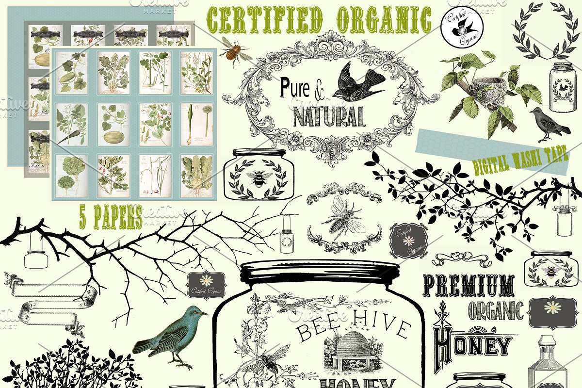 Certified organic clipart svg library stock Certified Organic Clipart & Brushes ~ Graphic Objects ~ Creative Market svg library stock