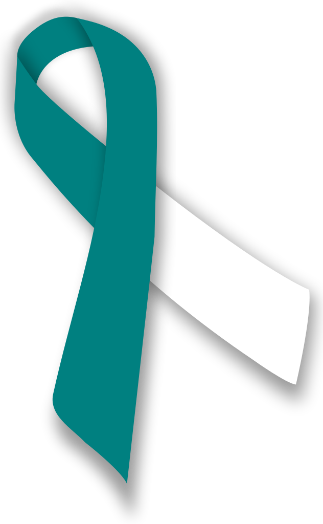 Cervical cancer ribbon clipart clipart free stock HD File Tealandwhiteribbon Wikimedia - Cervical Cancer Teal White ... clipart free stock