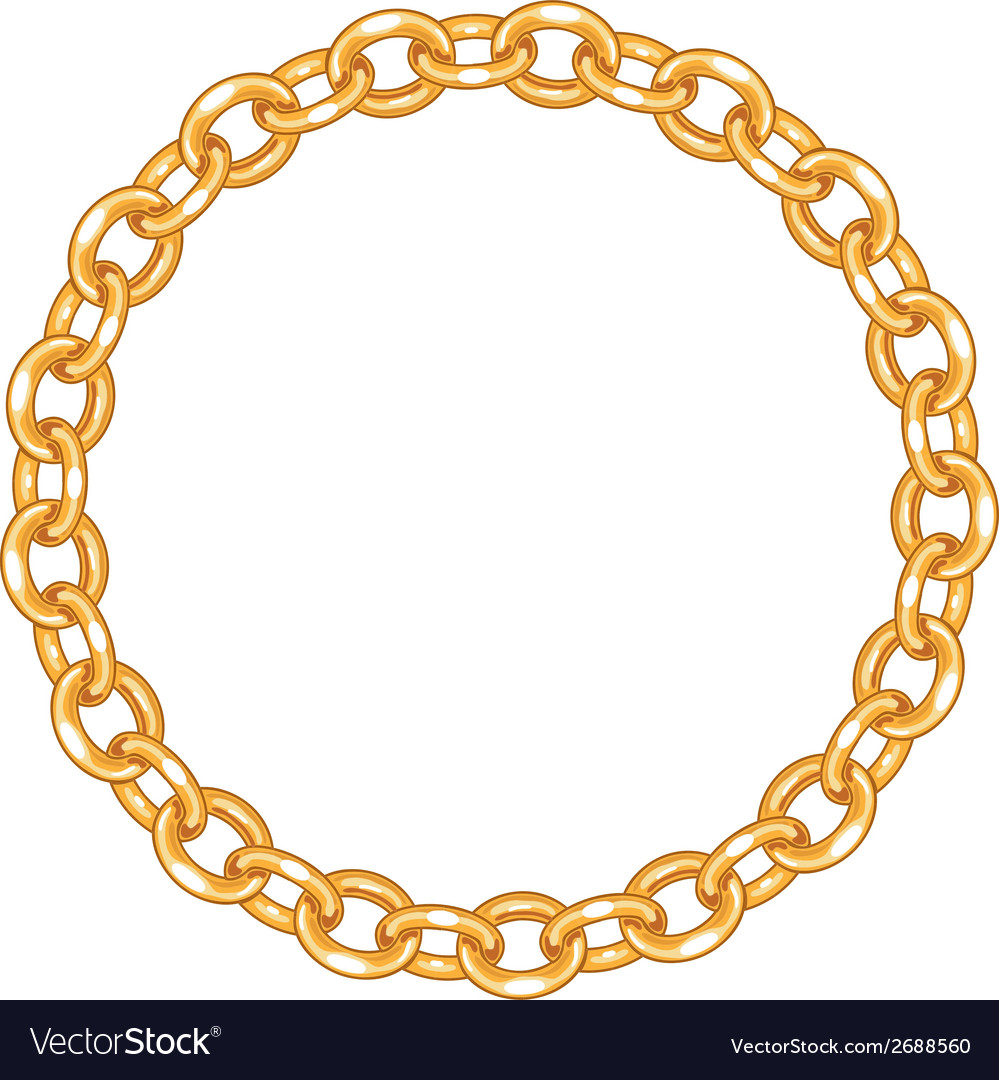 Chain gold circle clipart banner free stock Round frame - gold chain on the white background banner free stock