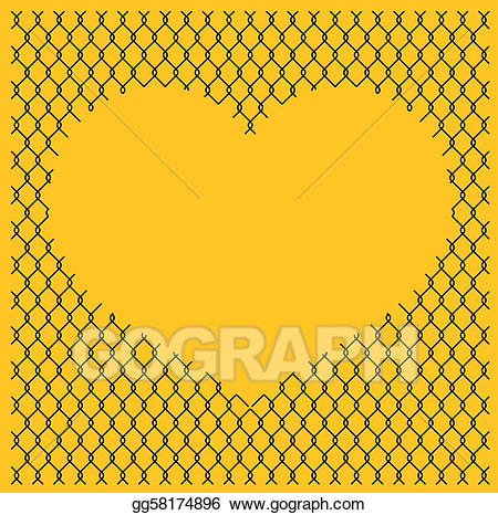 Chain link heart clipart free download EPS Vector - Chain link fence with heart. Stock Clipart Illustration ... free download