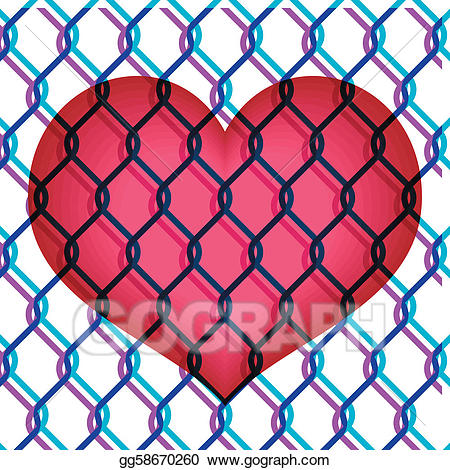 Chain link heart clipart image stock EPS Vector - Red heart under chain link fence . Stock Clipart ... image stock