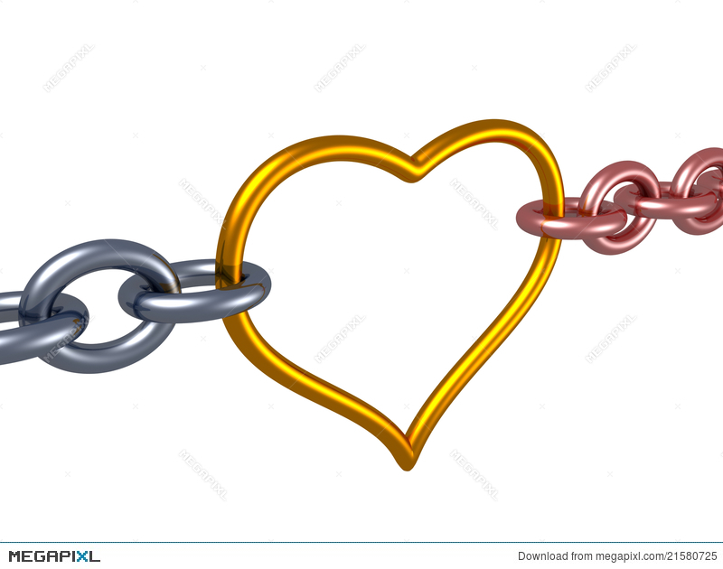 Chain link heart clipart png royalty free download Love Chain Heart Link. Romance Concept Illustration 21580725 - Megapixl png royalty free download
