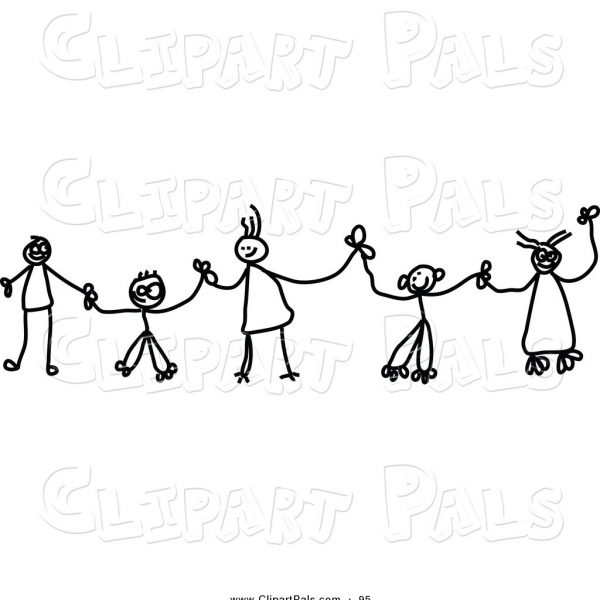 Chain of action clipart black and white library Pal Clipart Of Black And White Chain Of Stick Children Holding Hands ... black and white library