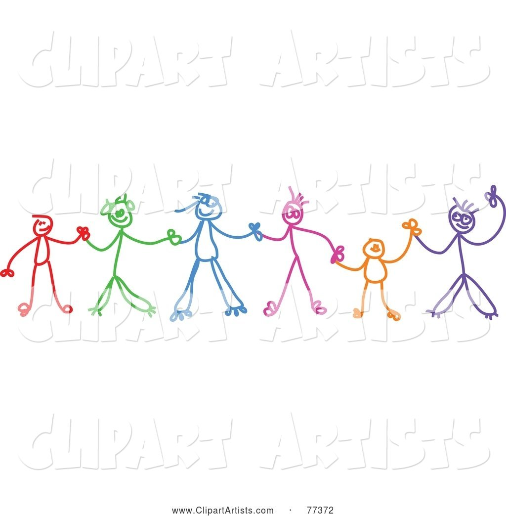Chain of action clipart image free Colorful Chain Of Stick Children Holding Hands Clipart by Prawny image free