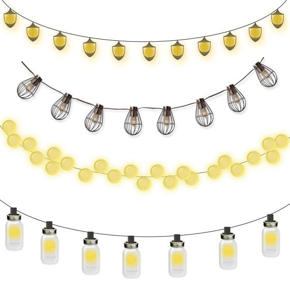 Free clipart images single hanging star from a string clip free stock Commercial Use Instant Download Clipart Lantern Strings - Mason Jar ... clip free stock