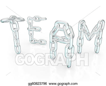 Chaining clipart graphic freeuse Stock Illustration - Team word chain links together partners ... graphic freeuse