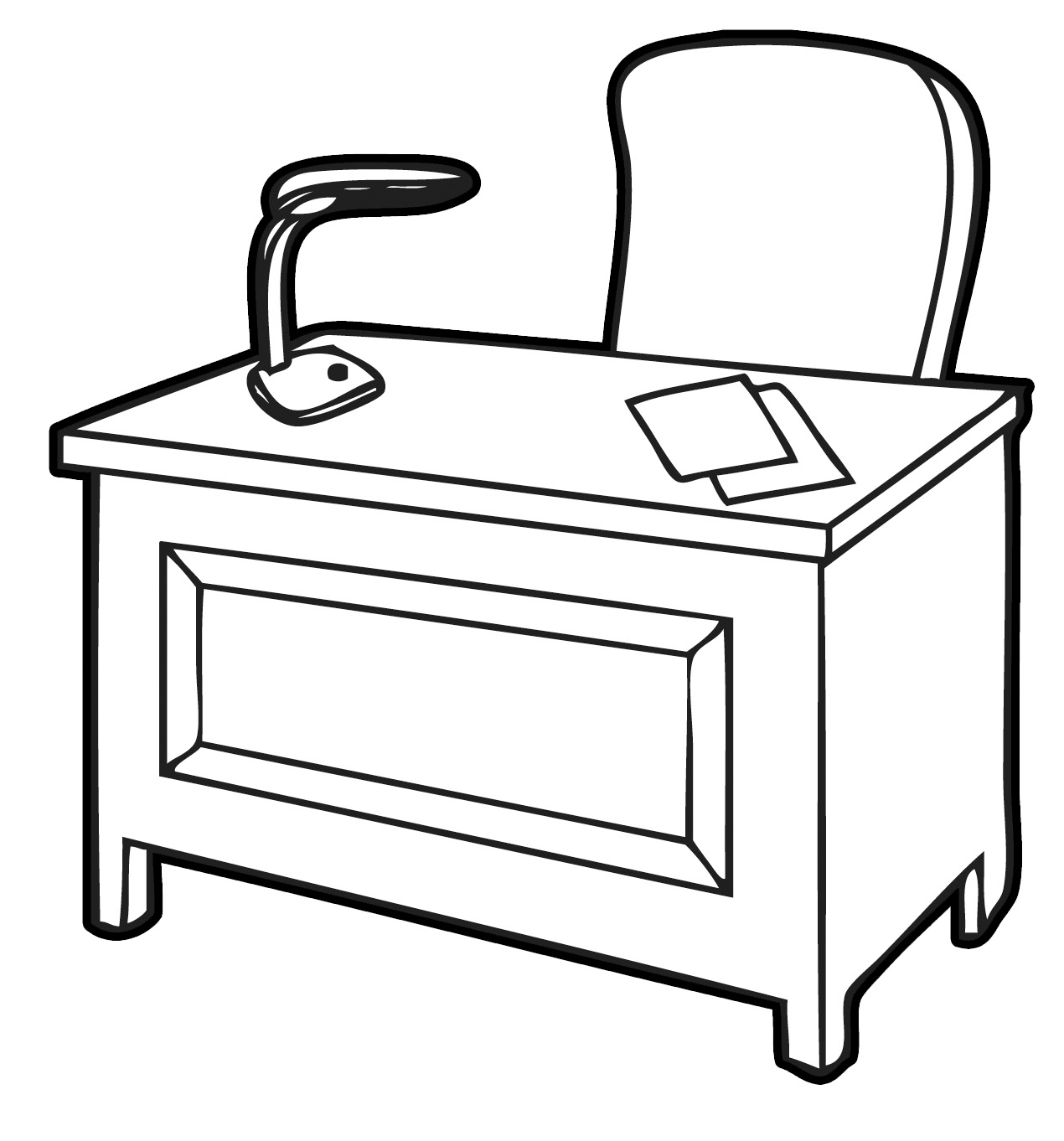 Free office desk clipart. Table black and white