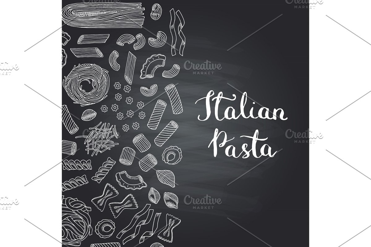 Chalk pasta clipart png transparent download Vector hand drawn pasta types on chalkboard png transparent download