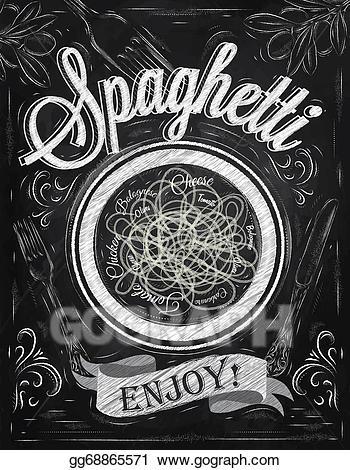 Chalk pasta clipart transparent Stock Illustration - Poster spaghetti enjoy. chalk. Clip Art ... transparent