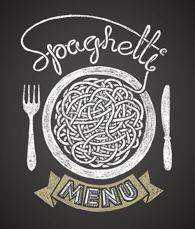 Chalk pasta clipart picture royalty free Spaghetti Menu Drawn on Chalkboard stock vectors - 365PSD.com picture royalty free