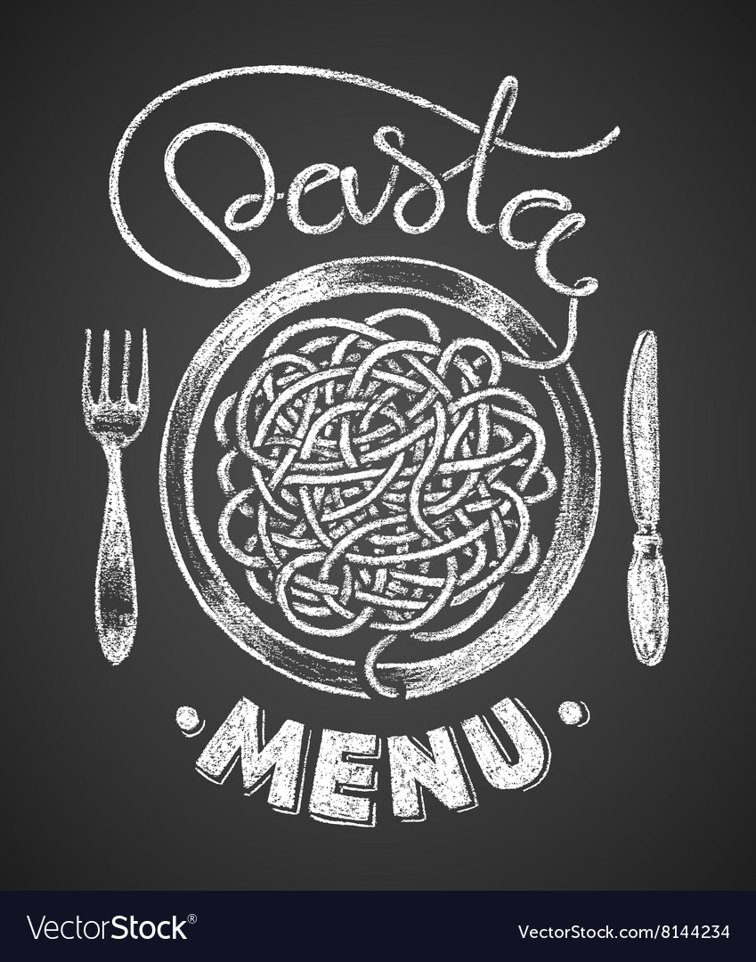 Chalk pasta clipart svg library library Pasta menu drawn on chalkboard vector image svg library library