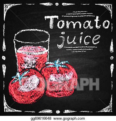 Chalk tomato clipart vector royalty free Vector Illustration - Hand drawn tomato, tomato juice. EPS Clipart ... vector royalty free