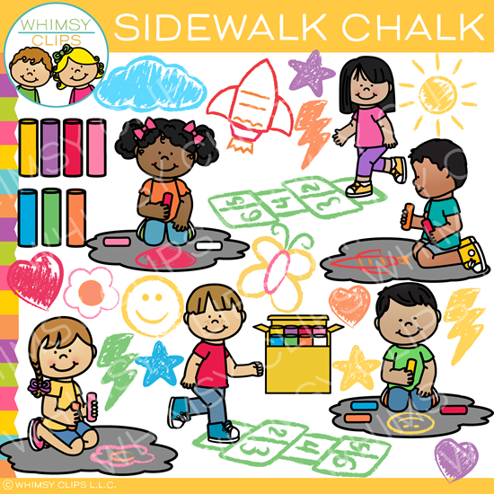 Kids Sidewalk Chalk Clip Art clip freeuse