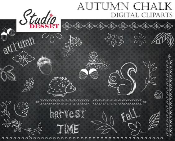 Chalkboard art clipart autumn png free download Chalkboard Autumn Cliparts Hedgehog Squirrel Acorn by StudioDesset ... png free download