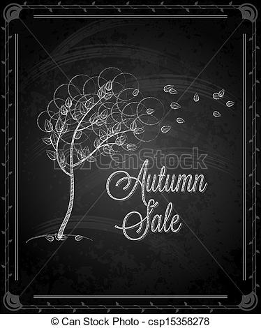 Chalkboard art clipart autumn picture black and white library Vectors Illustration of chalkboard - frame autumn menu ... picture black and white library