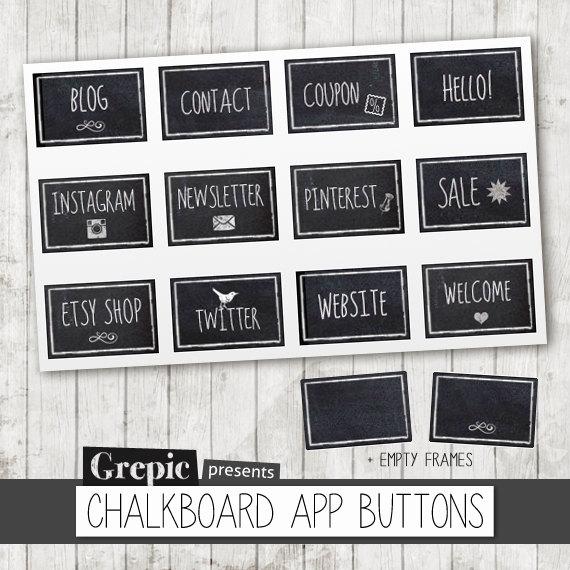 """Chalkboard art clipart facebook clip art Facebook tab images: """"CHALKBOARD APP BUTTONS"""" chalkboard style ... clip art"""