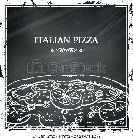 Chalkboard art clipart italian svg library library Clipart Vector of Vector Italian Pizza Poster on a Black ... svg library library