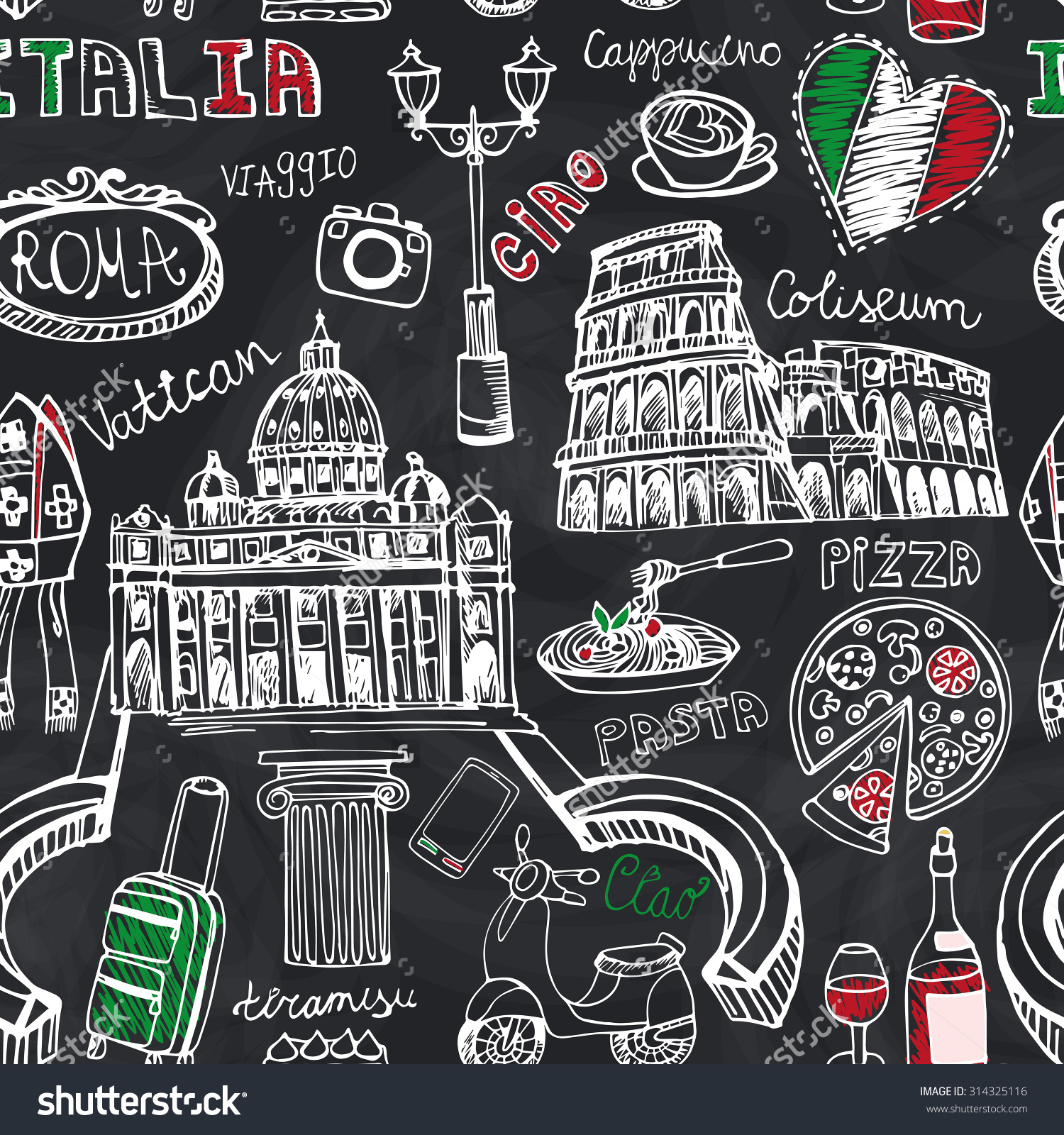 Chalkboard art clipart italian picture transparent library Italy Famous Rome Landmark Seamless Patternitaly Stock Vector ... picture transparent library