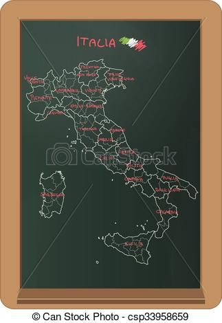 Chalkboard art clipart italian vector free library Clipart Vector of Italy chalkboard - illustration of italy chart ... vector free library