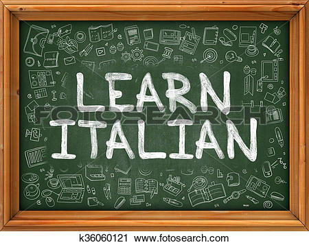 Chalkboard art clipart italian royalty free download Clipart of Learn Italian Concept. Green Chalkboard with Doodle ... royalty free download