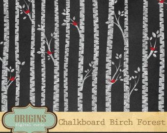 Chalkboard art clipart tree clip library library Birch tree clip art | Etsy clip library library