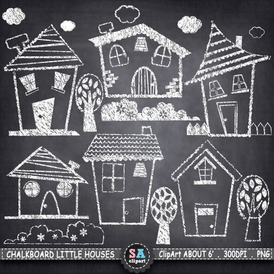 Chalkboard art clipart tree vector free stock Chalkboard Little Houses Clip Art