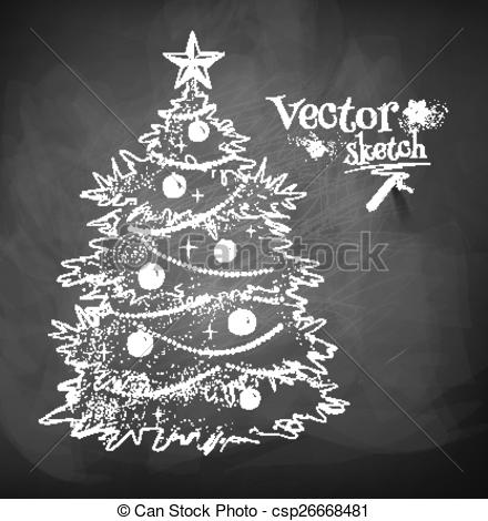 Chalkboard art clipart tree graphic Vector Clip Art of abstract christmas tree chalk drawing. Vector ... graphic