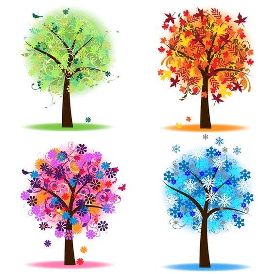 Chalkboard art clipart tree autumn svg transparent download Four Seasons Trees Clipart Clip Art, Spring Summer Winter Fall ... svg transparent download