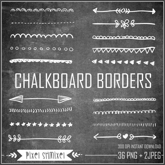 Chalkboard borders clip art picture royalty free Chalkboard Borders Clipart, Hand Drawn Border, Doodle Border ... picture royalty free