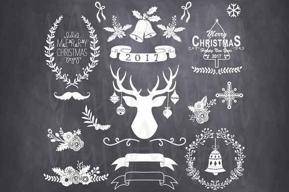 Chalkboard christmas clipart graphic black and white Chalkboard Christmas Clip Art ~ Illustrations on Creative Market graphic black and white