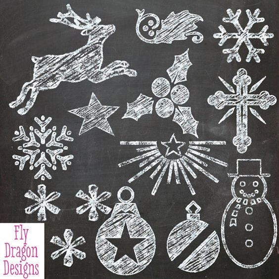 Chalkboard christmas clipart picture freeuse library Chalk Clip Art - Christmas Xmas - and FREE Chalkboard Backgrounds ... picture freeuse library