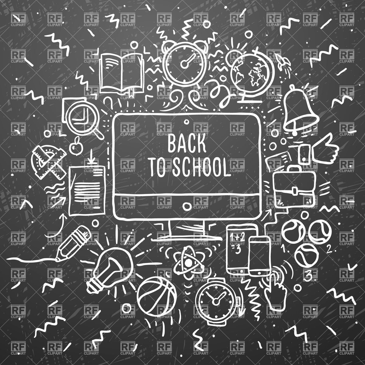 Chalkboard clip art download image freeuse Back to School - freehand chalk drawing of school items on the ... image freeuse