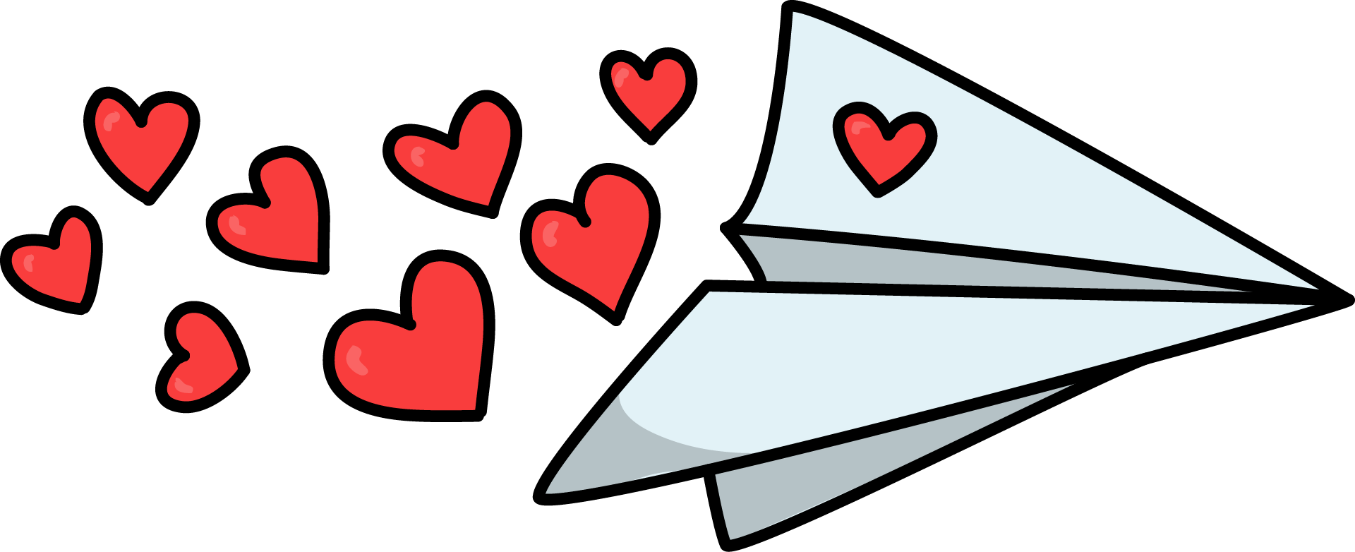 Dashed heart clipart. Free paper plane with